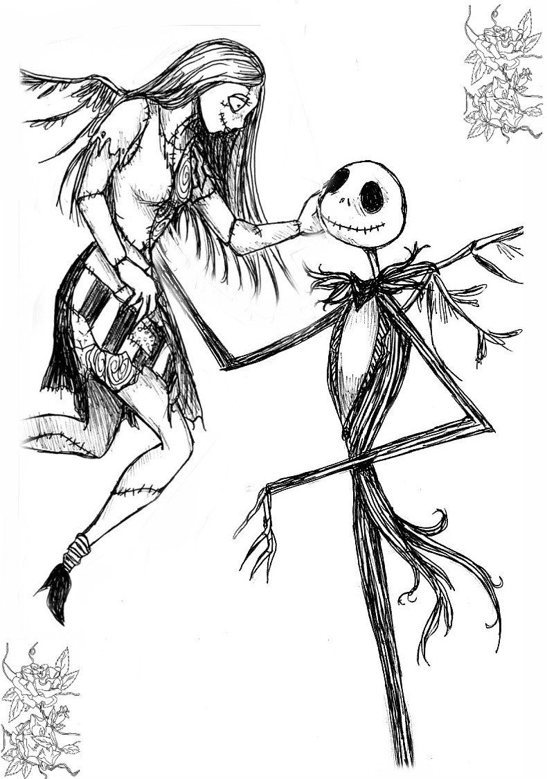 790x1124 Jack And Sally Nightmare Before Christmas Coloring Pages Image