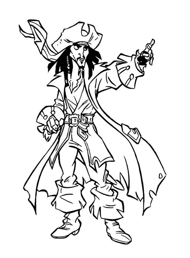 610x825 Jack Sparrow Giving Directions Coloring Page For Kids Kids