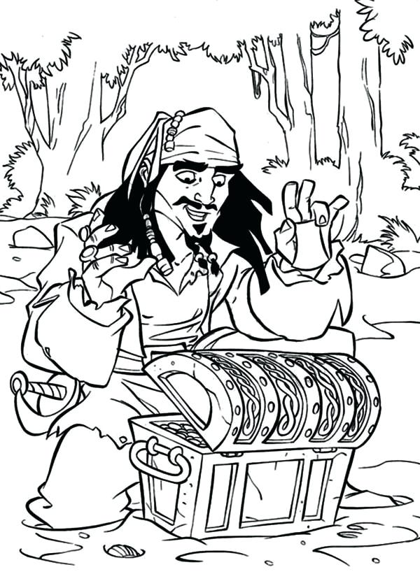 600x841 Pirates Of The Caribbean Coloring Pages Jack Sparrow Found A Chest