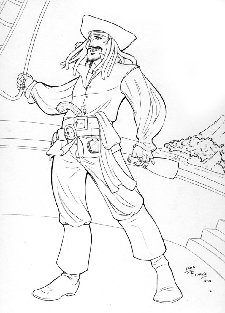 758x1054 Scarce Jack Sparrow Coloring Page Line Drawing