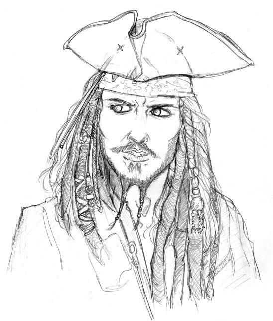 548x644 Captain Jack Sparrow Coloring Pages