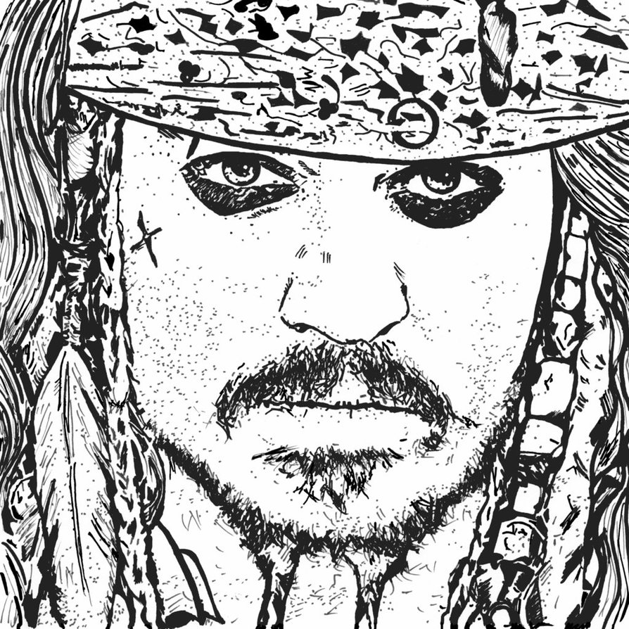 894x894 Strange Jack Sparrow Coloring Page Drawing