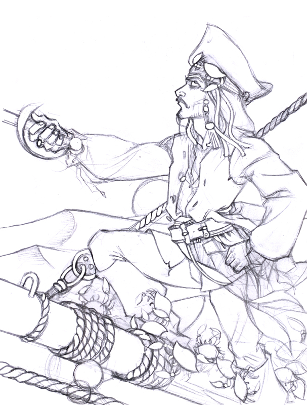 607x800 Coloring Page Famous People Jack Sparrow