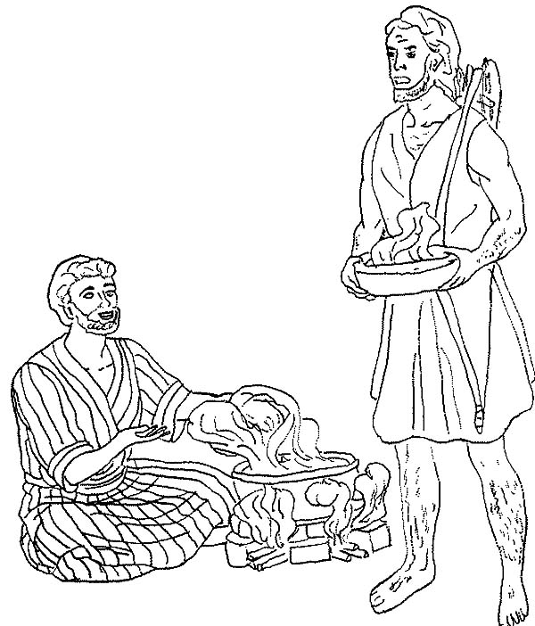 600x702 Esau Want A Bowl Of Stew In Jacob And Esau Coloring Page