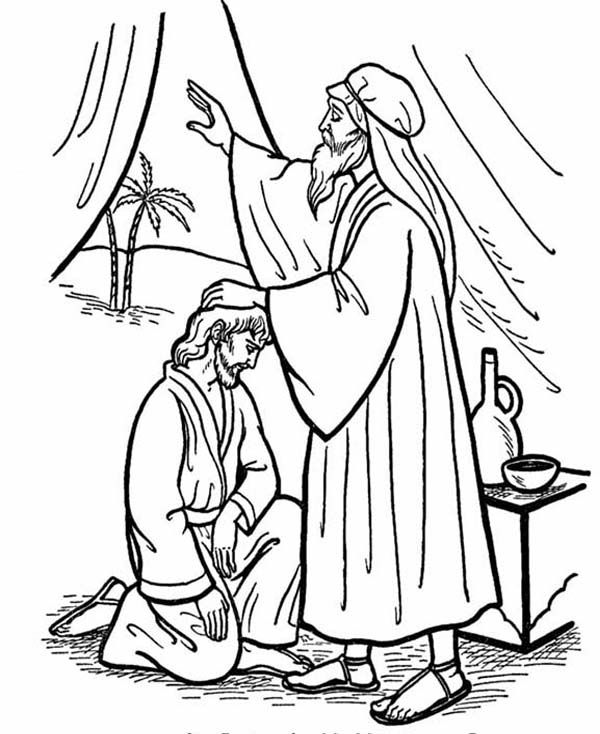 600x734 Isaac Give His Blessing To Jacob In Jacob And Esau Coloring Page