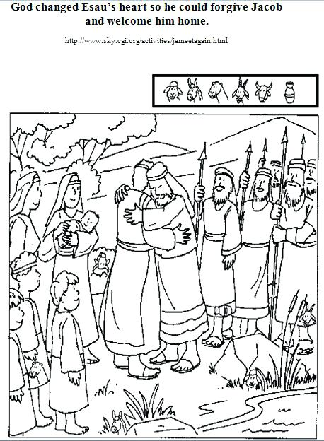 458x624 With And Reunite Hidden Picture Jacob Tricked Esau Coloring Page