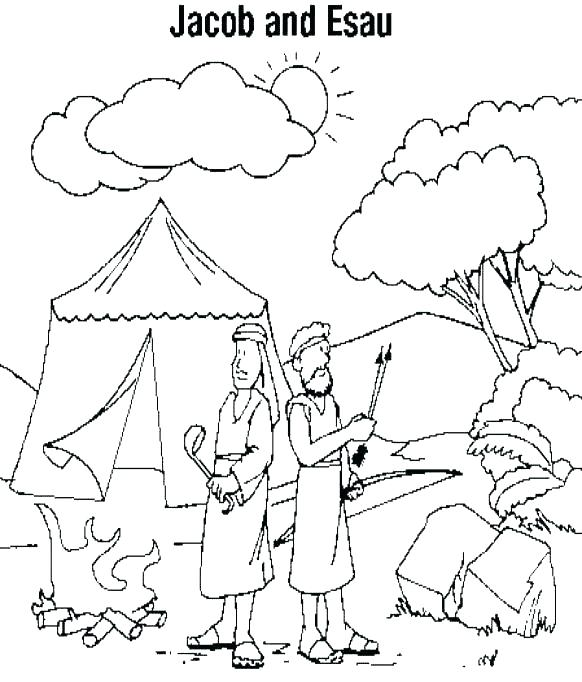 582x682 Esau And Jacob Coloring Pages Bible Book As Stunning