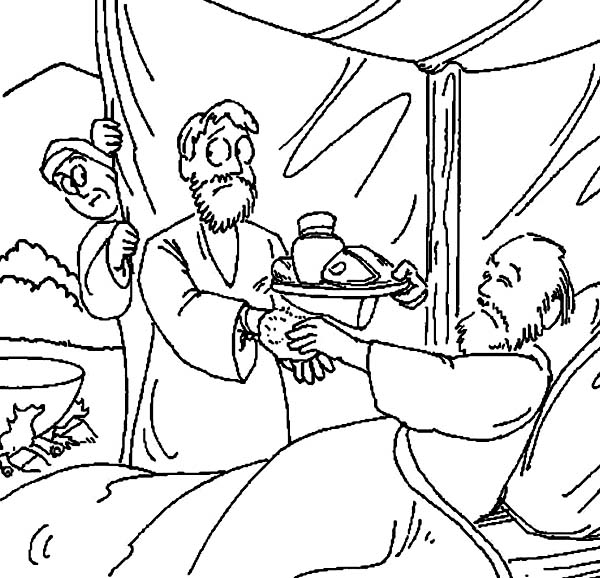 600x578 Jacob Bring Food To Isaac In In Jacob And Esau Coloring Page