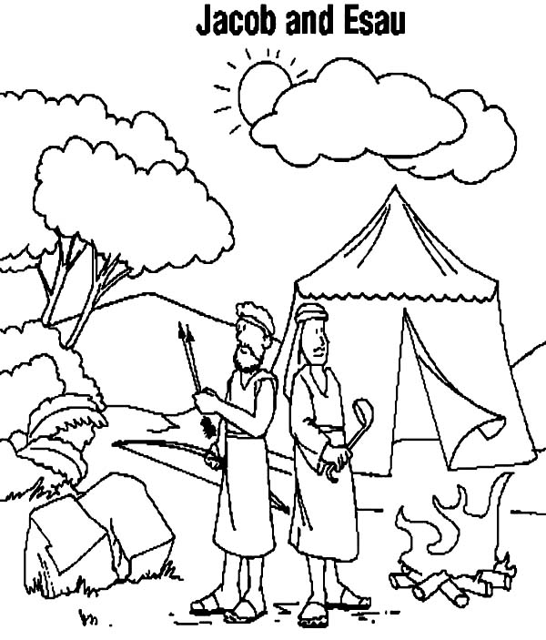 600x703 Jacob And Esau Camping Coloring Page