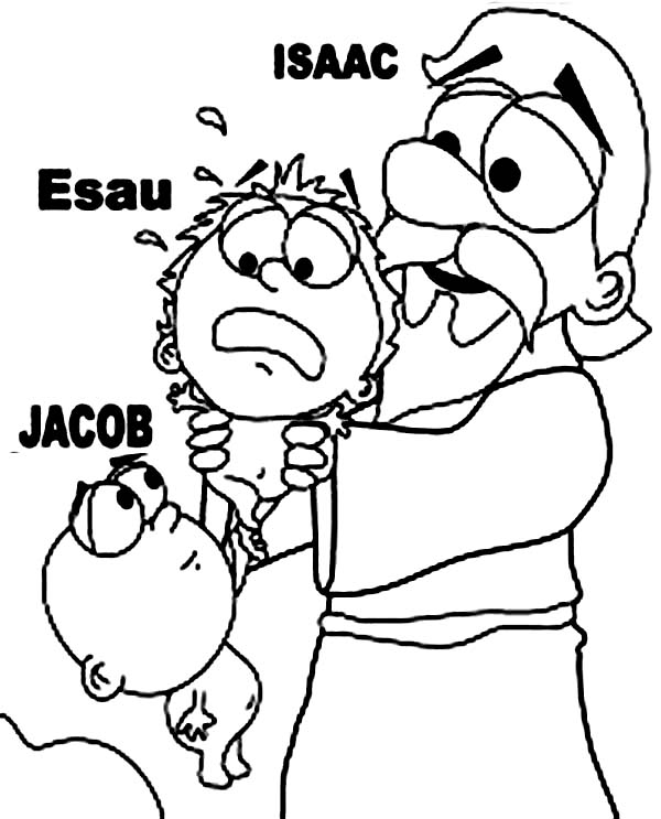 600x743 Picture Of Isaac And Jacob And Esau Coloring Page