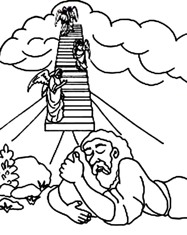 600x756 Jacobs Ladder And Three Angels In Jacob And Esau Coloring Page