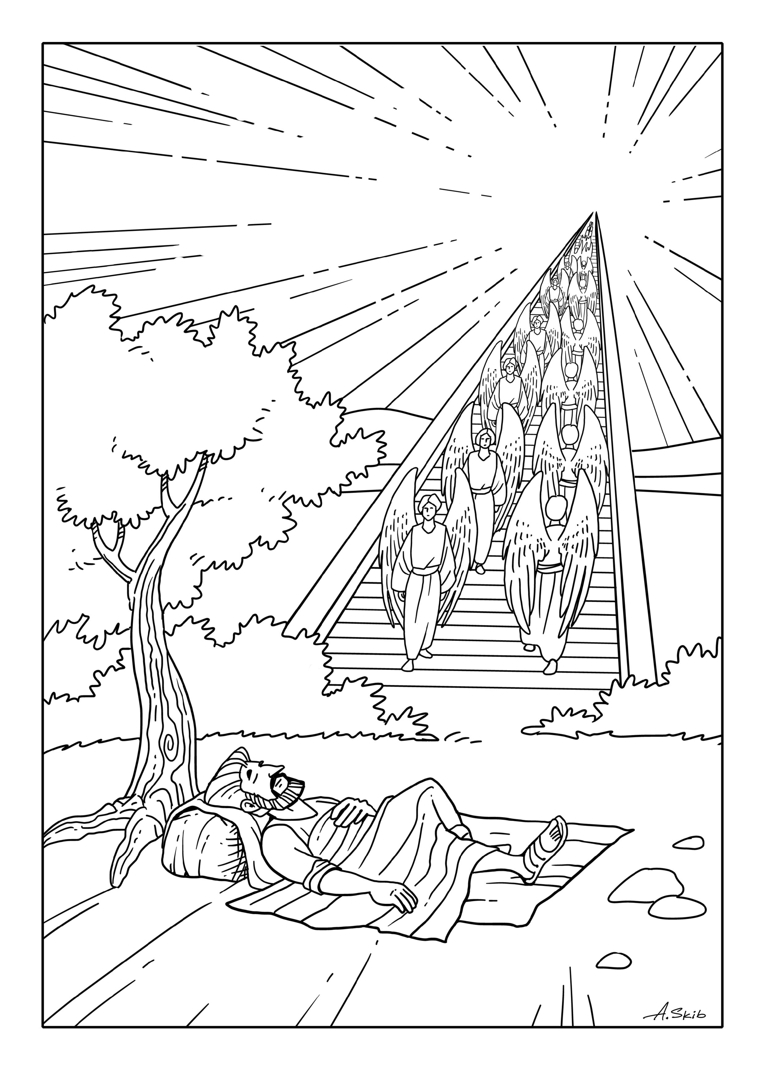 2460x3479 Skill Jacob S Ladder Coloring Pages Dream Bible Stories