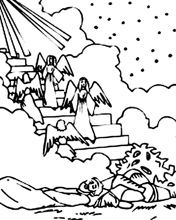 600x749 Depiction Of Jacobs Ladder In Jacob And Esau Coloring Page