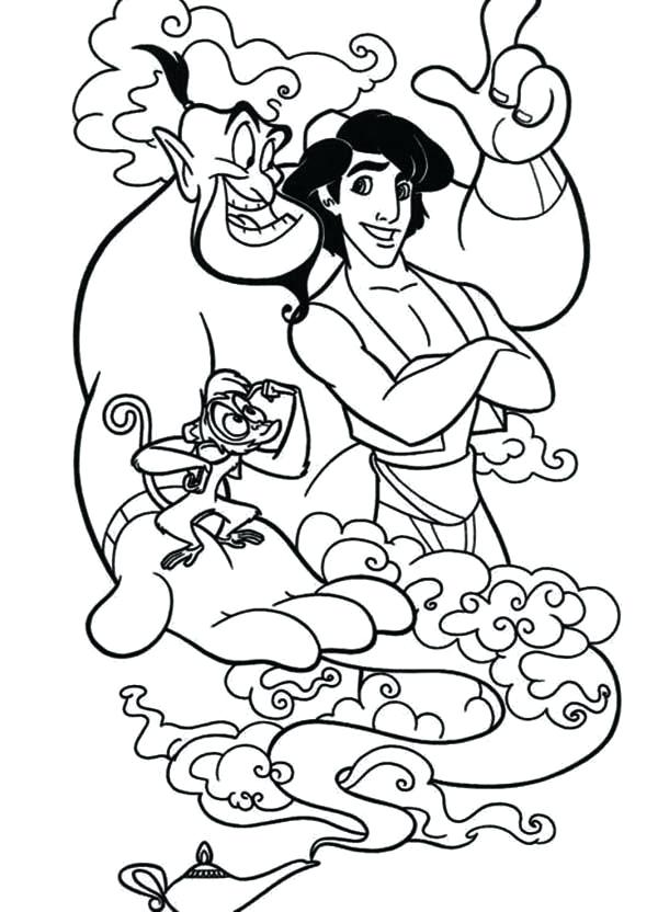 600x832 Jafar Coloring Pages And His Two Companion And Genie Coloring Page