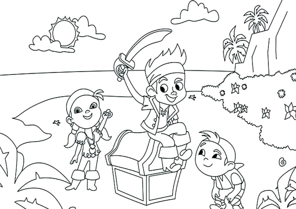 1024x723 Jake Neverland Pirates Para Colorear And The Pirate Coloring Pages