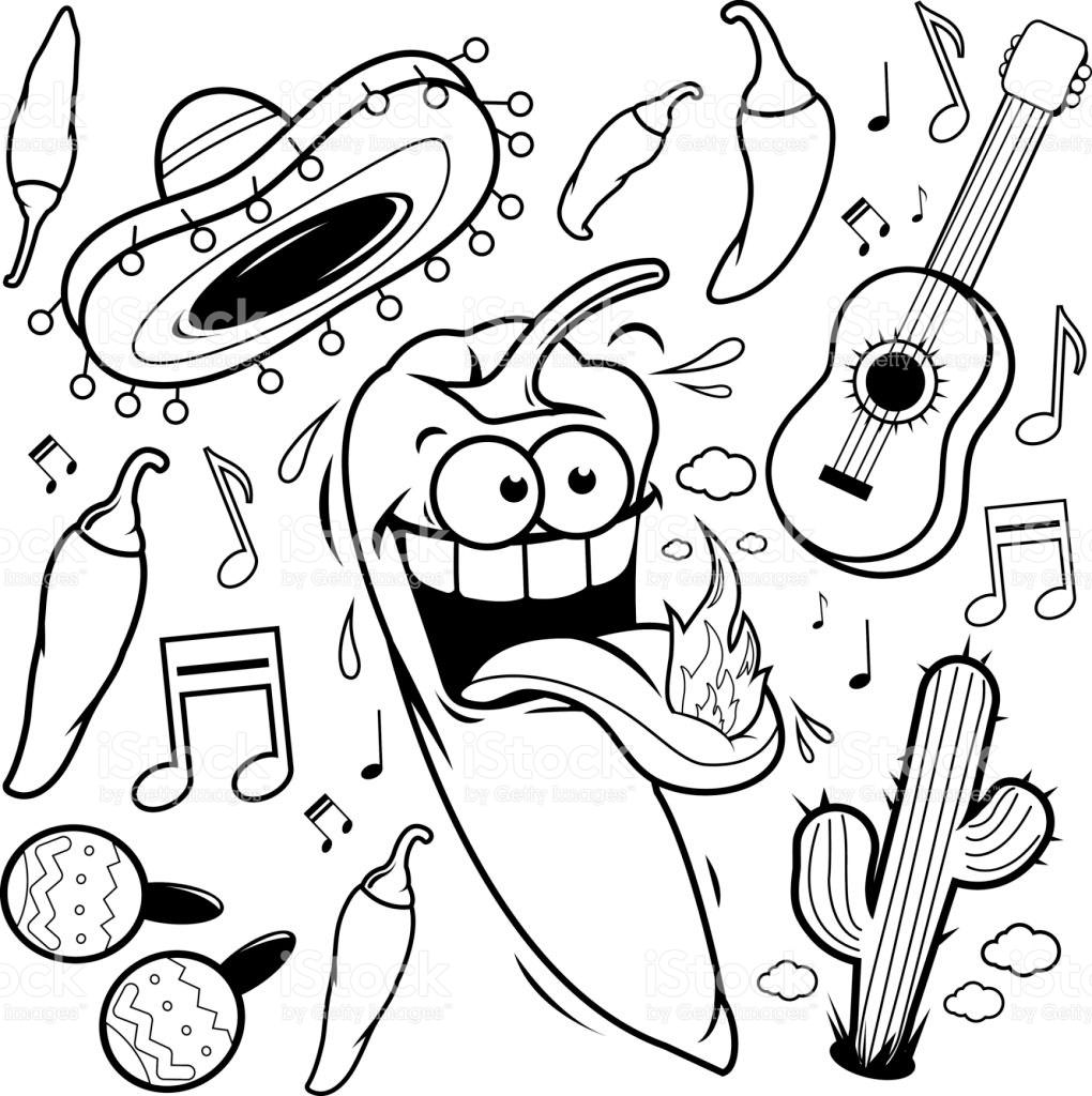 1020x1024 Jalapeno Pepper Coloring Page