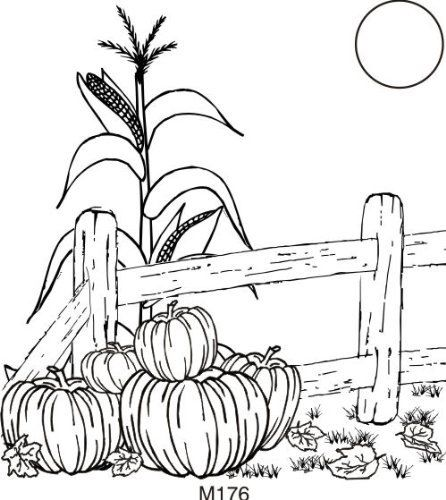 446x500 Fall Fence Rubber Stamp