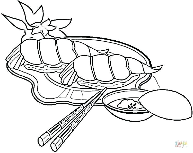 750x595 Japan Coloring Page Shrimps Sushi Japan Cherry Blossom Coloring