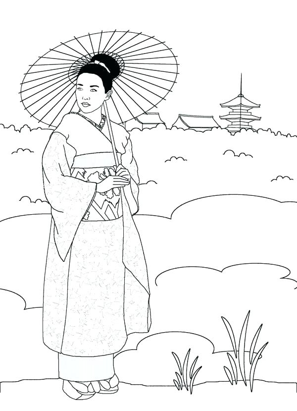 600x829 Printable Japanese Coloring Pages Professional
