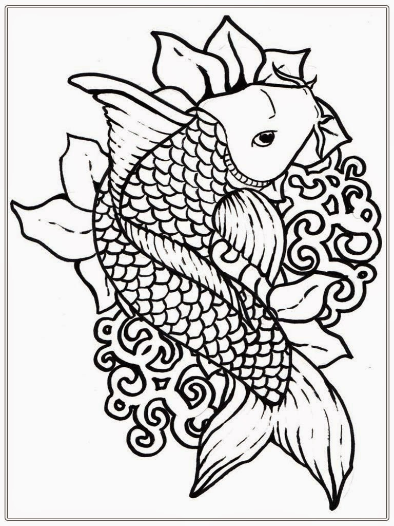 768x1024 Japanese Koi Coloring Pages For Adults