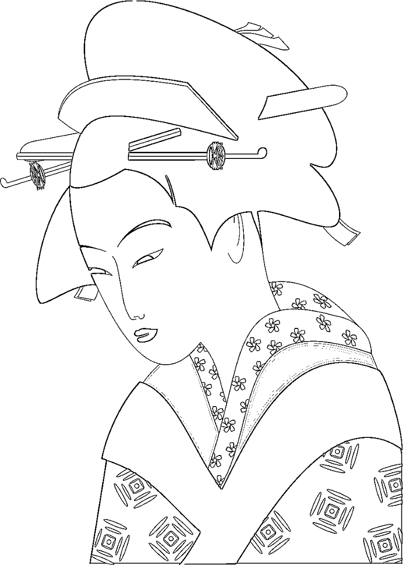 800x1120 Japanese Woman Coloring Page Ancient