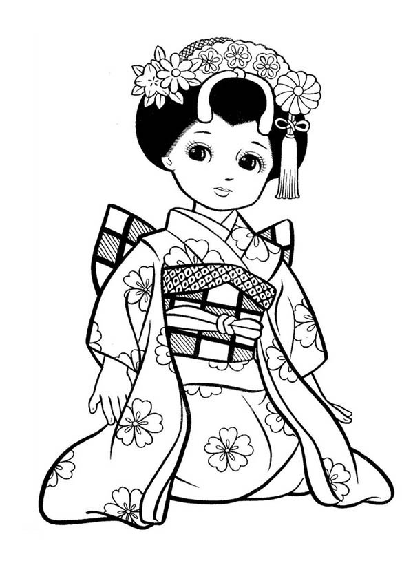 600x834 Japanese Girl Geisha Coloring Page