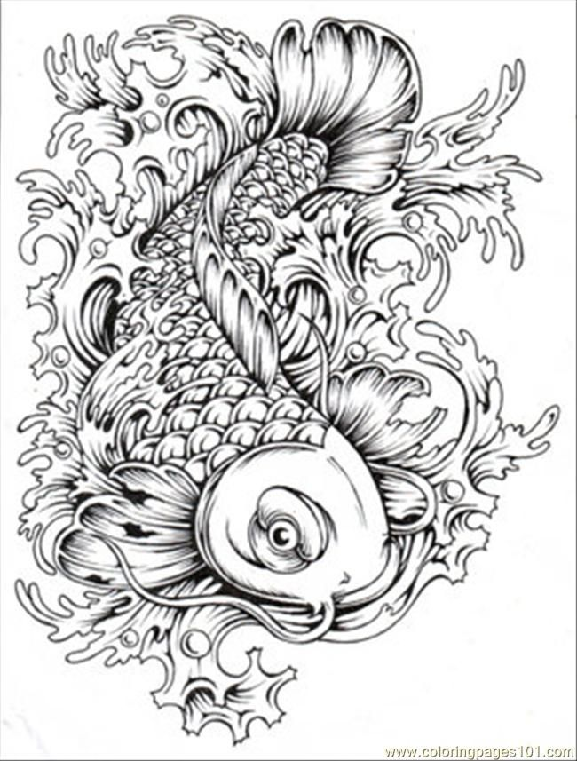 650x857 Japanese Koi Coloring Pages