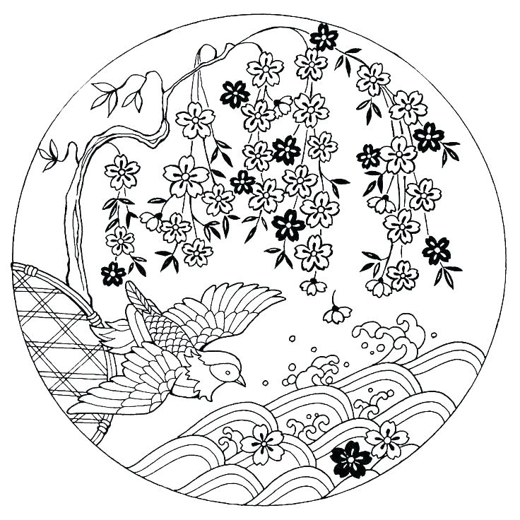 736x736 Japanese Coloring Pages