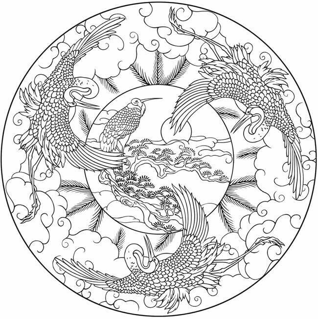 650x653 Japanese Coloring Book Pages