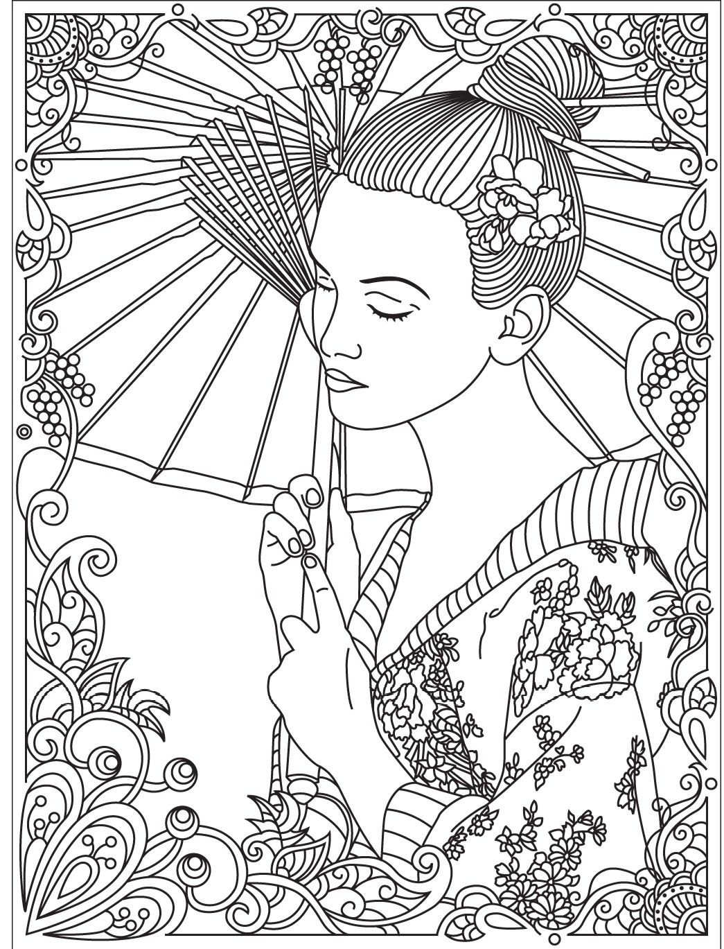 1045x1369 Inspiring Japanese Hand Fan Japan Coloring Pages For Adults