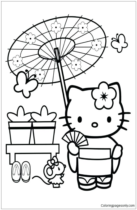 580x889 Japan Coloring Pages Hello Kitty In Japan Coloring Page Japan