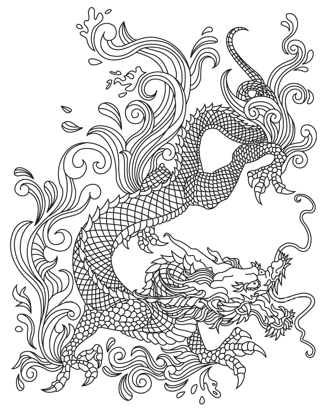 1098x1369 Japanese Dragon Colorish Coloring Book For Adults Mandala Relax