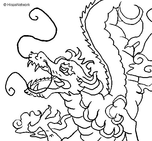 505x470 Japanese Dragon Coloring Page