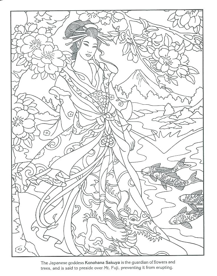 736x936 Geisha Coloring Pages Japan Free Fan Page Japanese Lantern