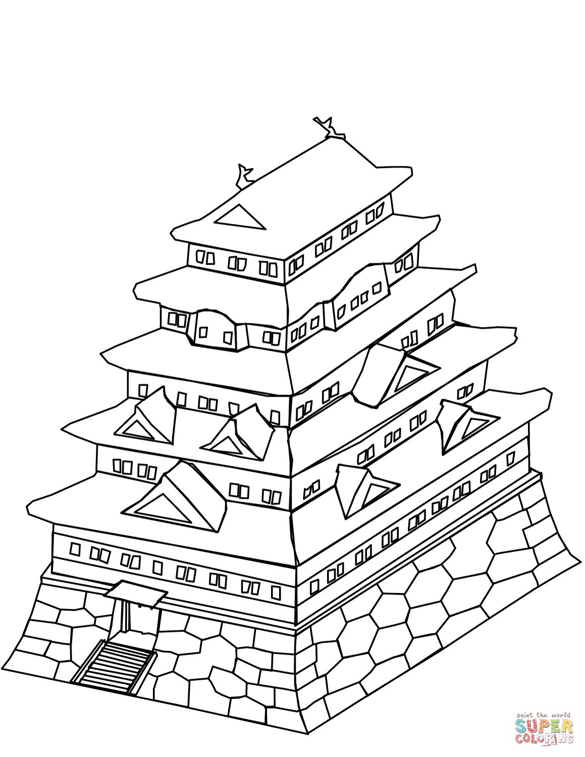 1159x1500 Japanese Castle Coloring Page At Japan Coloring Pages