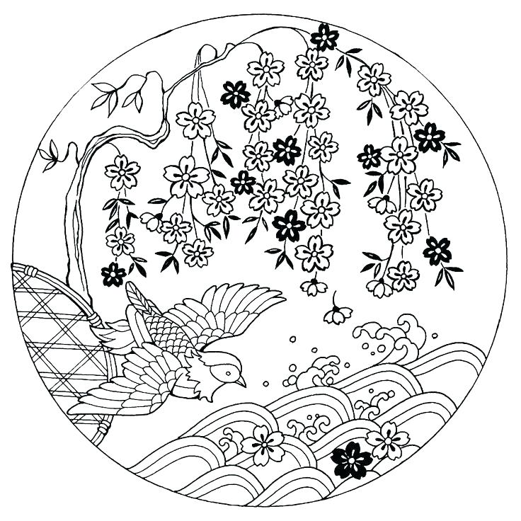 736x736 Japanese Coloring Pages Coloring Pages House On The River Bank