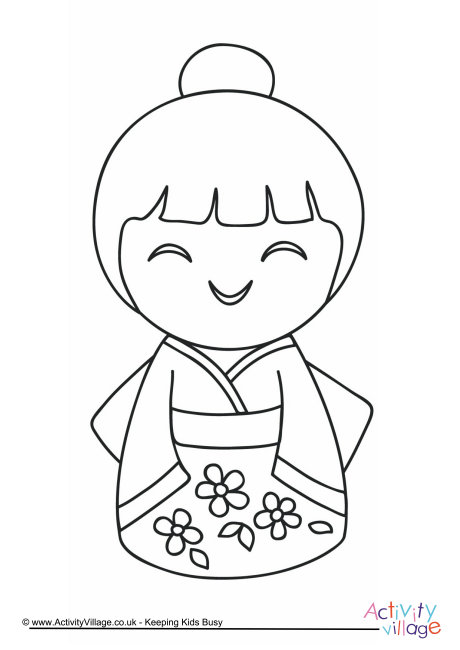 460x650 Kokeshi Dolls Coloring Pages