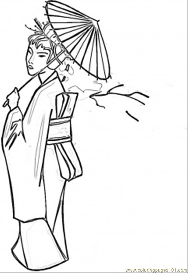 650x943 Lady With Umbrella Coloring Page