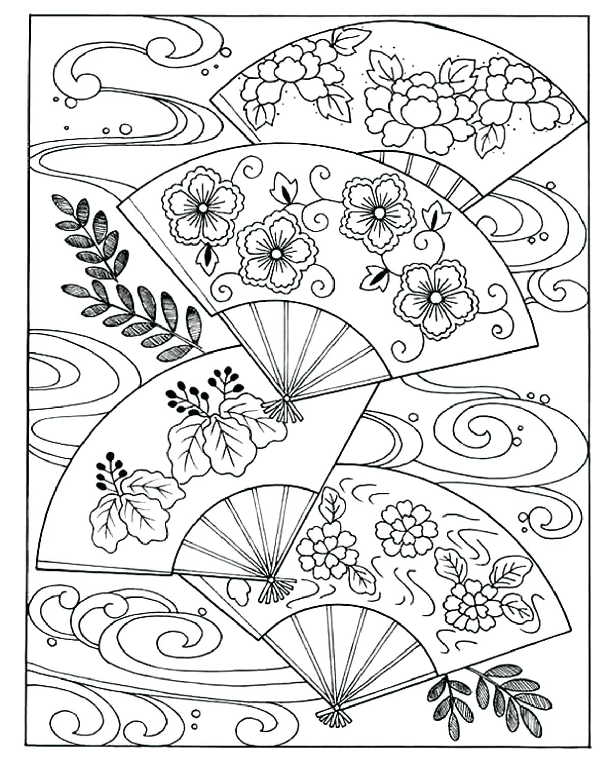 1200x1492 Coloring Page Japan Coloring Pages Woman With Fans Page Japanese