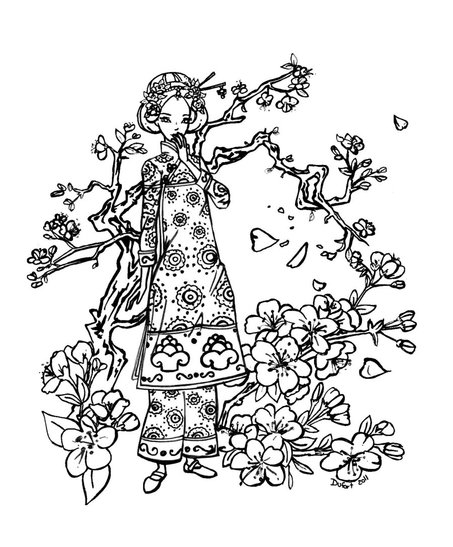 900x1087 Expert Japanese Cherry Blossom Coloring Pages