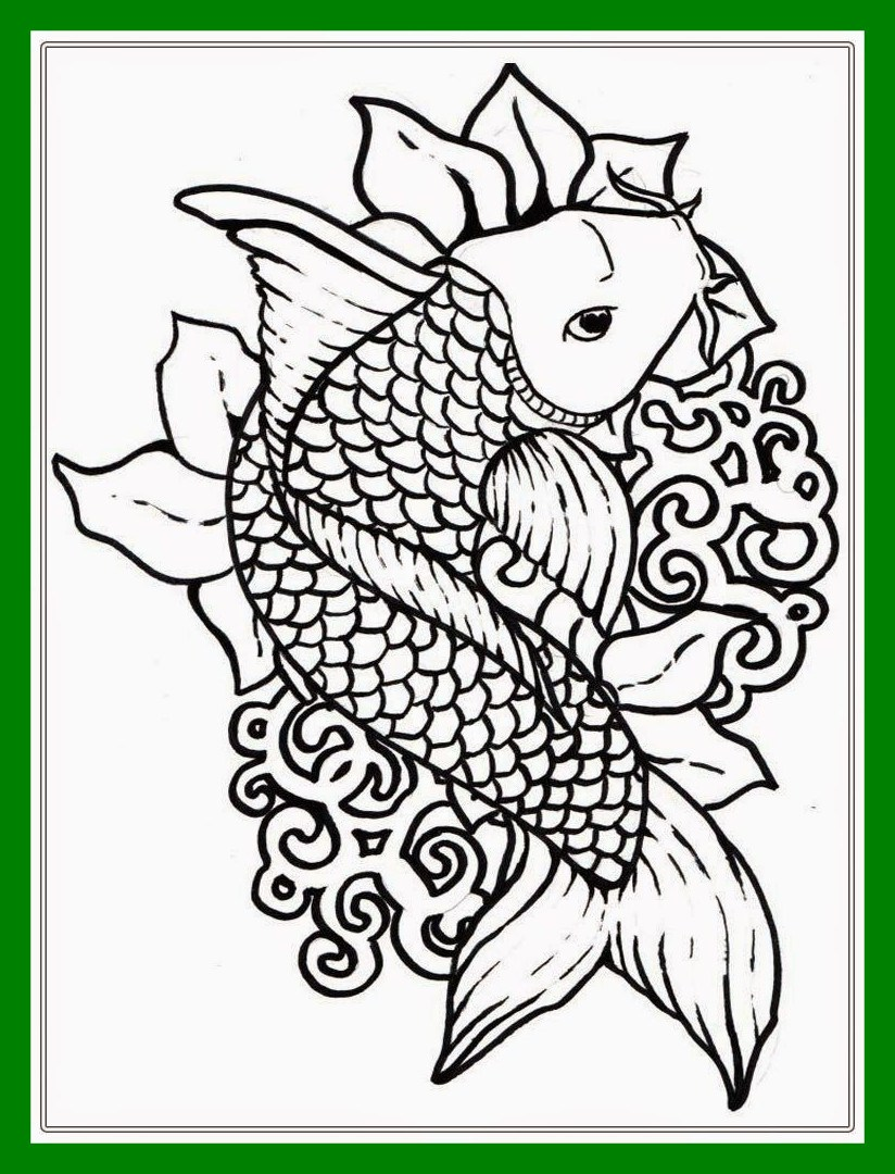 824x1080 Inspiring Japanese Koi Fish Coloring Pages For Adult Pic