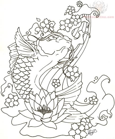 484x587 Japanese Koi Coloring Pages