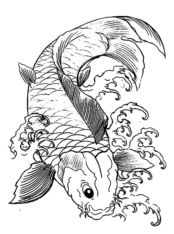 600x806 Japanese Koi Fish Coloring Pages