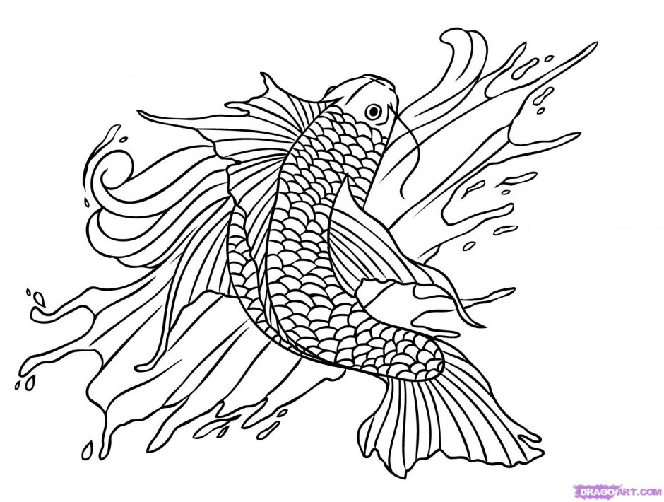 940x710 Koi Fish Coloring Pages For Kids
