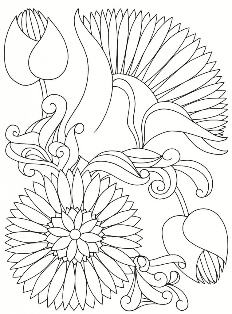 755x1024 Abstract Flowers Japanese Coloring Page