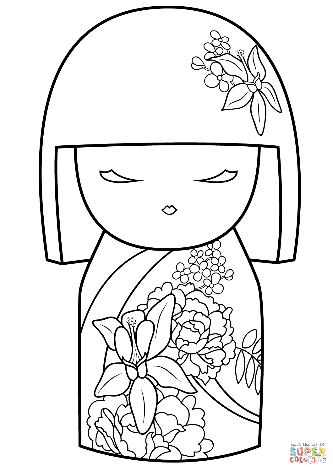 1060x1500 Awesome Japanese Doll Coloring Pages Kimmi With Flower Ornament