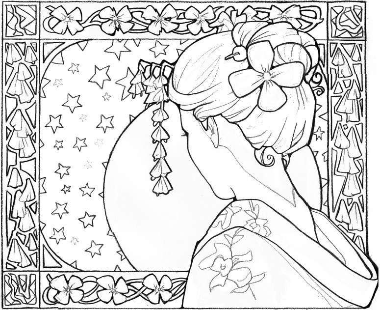 775x631 Adult Coloring Page Japan Japan Geisha Girl