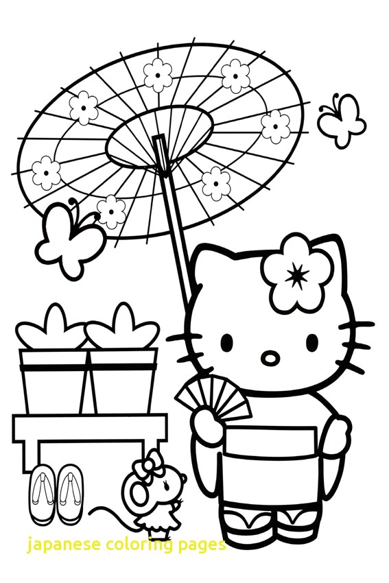 567x850 Japanese Coloring Pages With Hello Kitty In Japan Japanese Garden