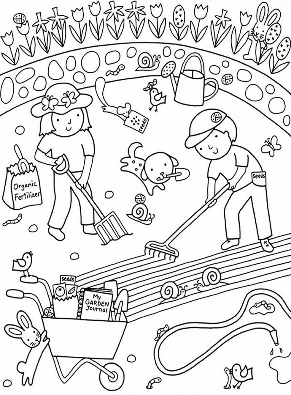 981x1329 The Best Kids Gardening Coloring Pages Colouring To Print Pic