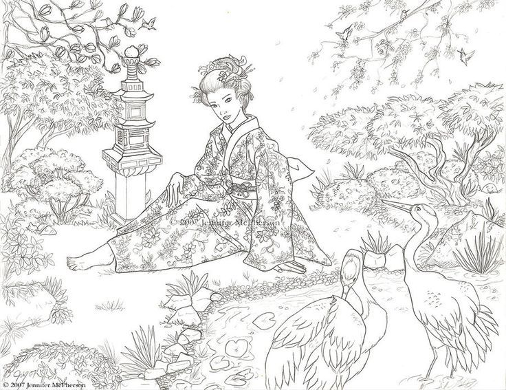 736x567 Japanese Garden Drawings